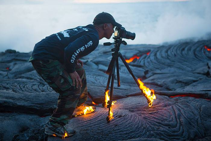 Lava Burning Fire During Taking Shot