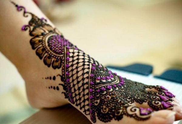 Colored Foot Mehndi Design
