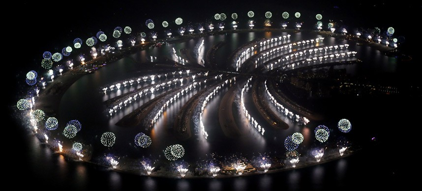 Fireworks explode over Palm Jumeirah in Dubai