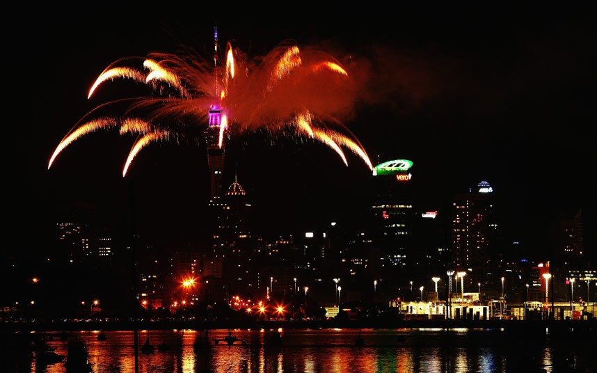 Fireworks are let off from the Auckland Sky Tower to celebrate the start of 2014 in Auckland, New Zealand
