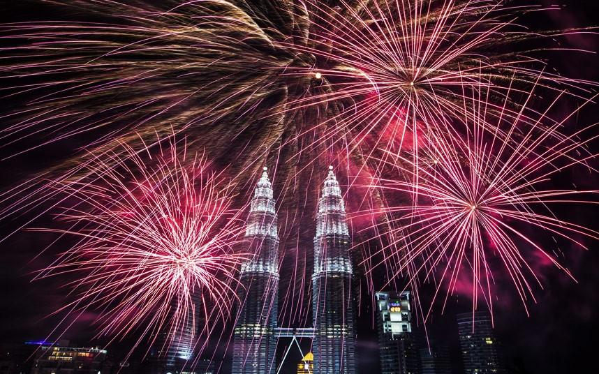 Fireworks explode near Malaysia
