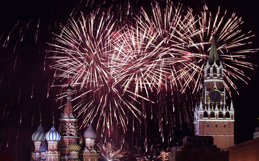 Fireworks explode in the sky during New Year celebrations in Moscow