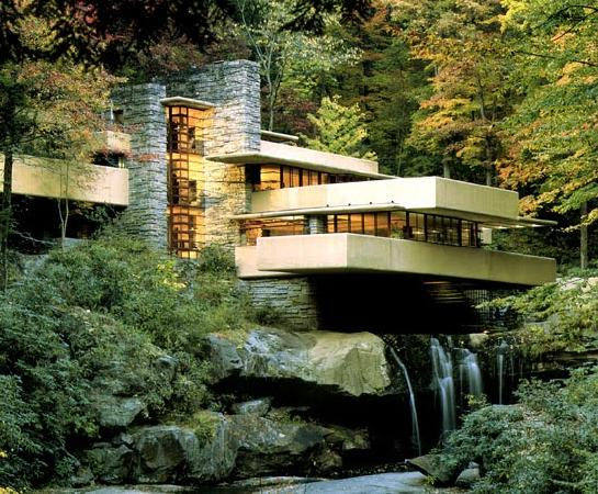 House in Moutain with Falling water