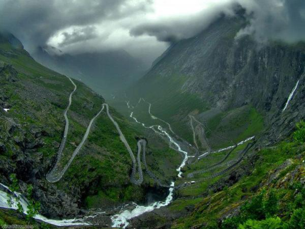 Trollstigen is a mountain road in Rauma, Norway