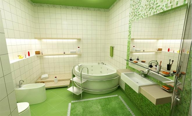 Green Shades of Bathroom Tiles