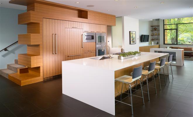 Wooden American Kitchen Design 4 Pics
