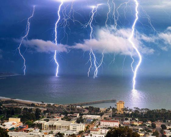 A dramatic lightning storm off the coast of Ventura, California