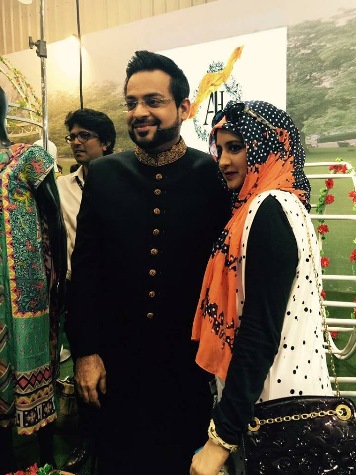 Aamir Liaquat Hussain With Wife At Anchal Launching Ceremony