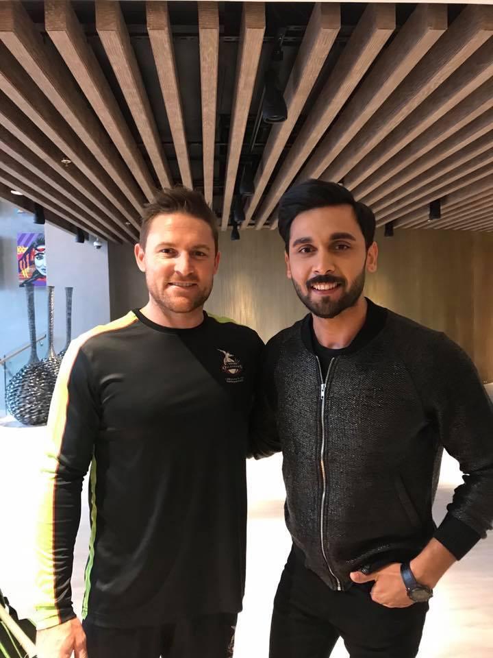 Abdullah Sultan With Lahore Qalandar Skipper Brendan McCullum