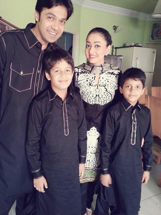 Actor Umair And Saddaf with Children on Eid