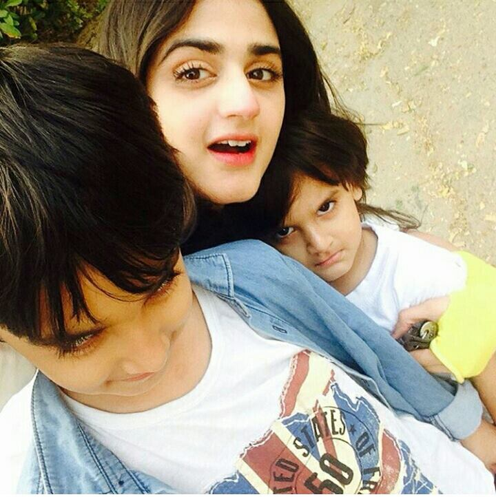 Actress Hira with cute sons
