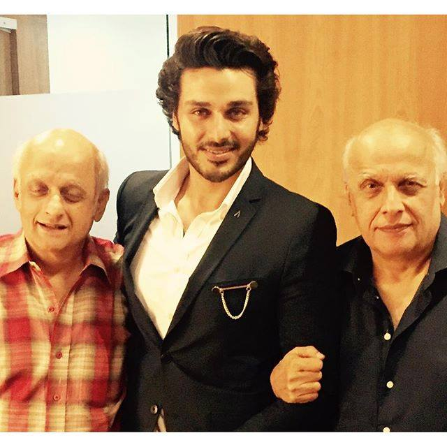Ahsan Khan With Mahesh Bhatt & Mukesh Bhatt In Mumbai
