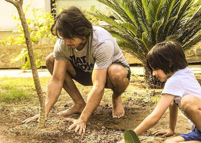 Ali Zafar Planting A Tree With His Son