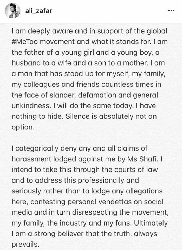 Ali Zafar Posts Response Against Meesha Shafi's Allegations