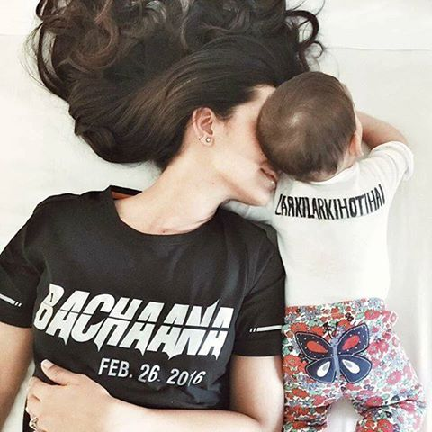 Amina Sheikh with her daughter wearing T-Shirts of Bachaana