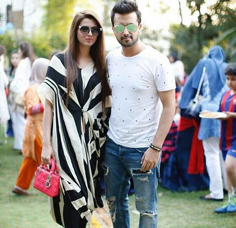 Atif Aslam With His Wife At Birthday Party