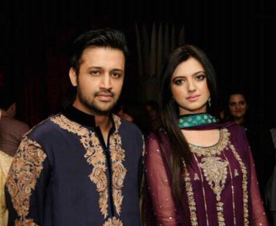 Atif Aslam with his Wife in a Private Party