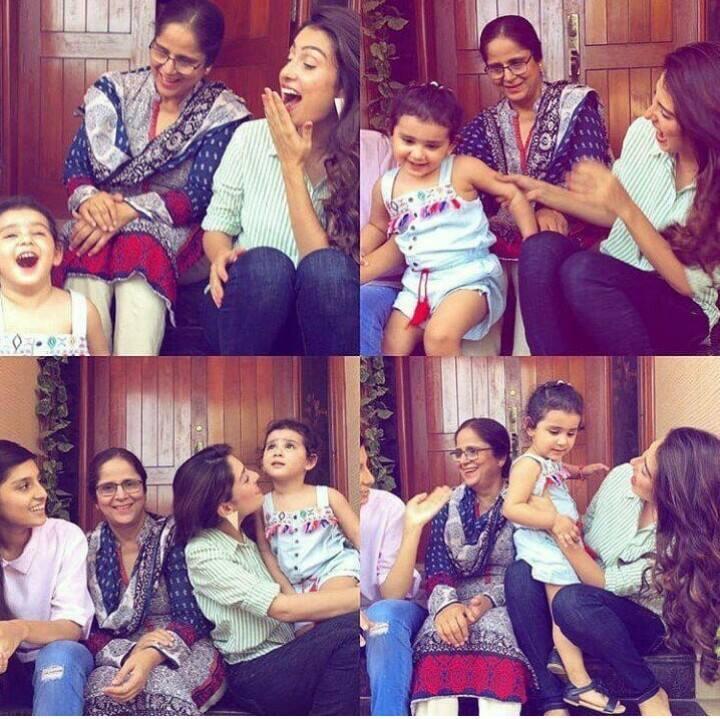 Ayeza Khan With Her Mother & Daughter Hoorain
