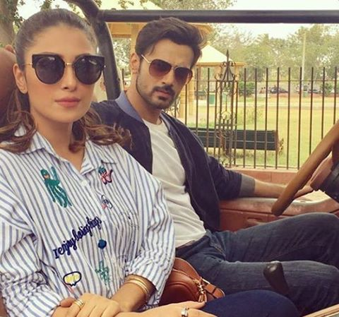 Ayeza Khan & Zahid Ahmed On The Sets