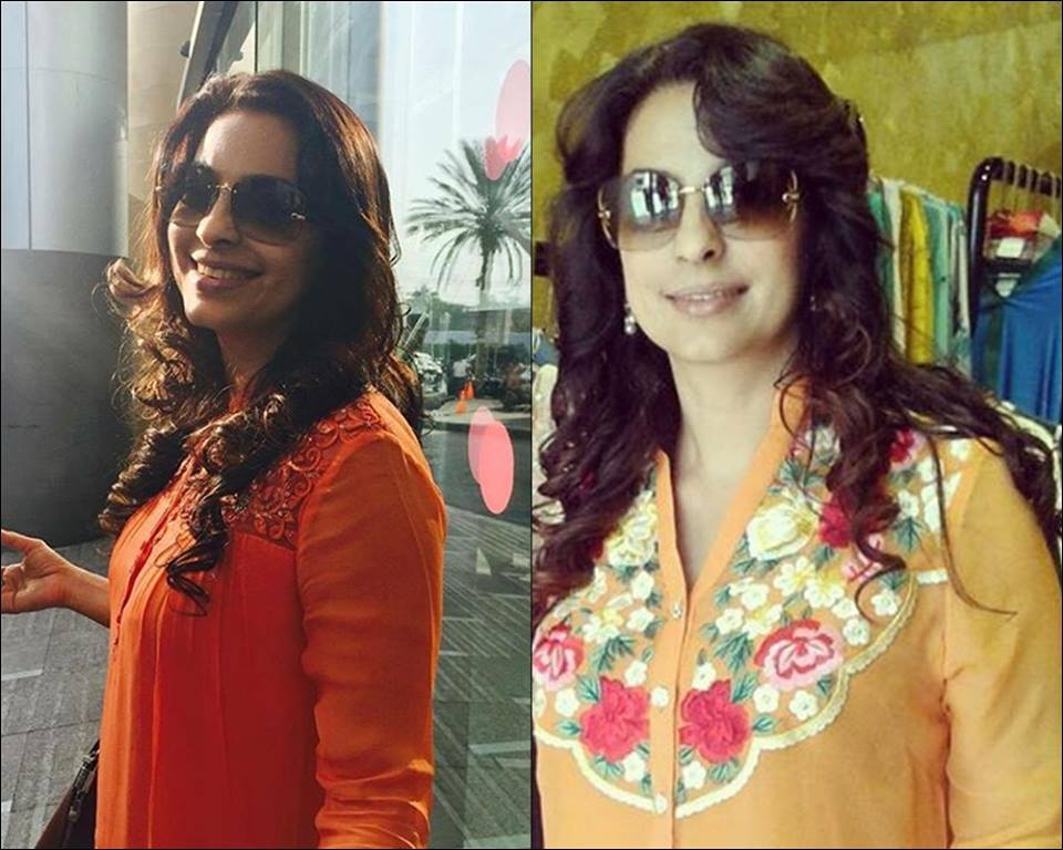 Bollywood actress Juhi Chawla in Pakistan visiting Karachi spotted at boutique