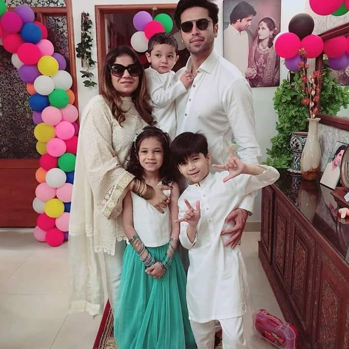 Fahad Mustafa With His Family On Eid