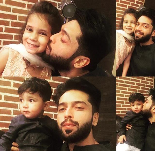 Fahad Mustafa With His Kids On Eid