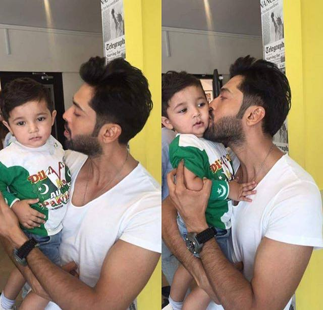 Fahad Mustafa With His Son On Independence Day