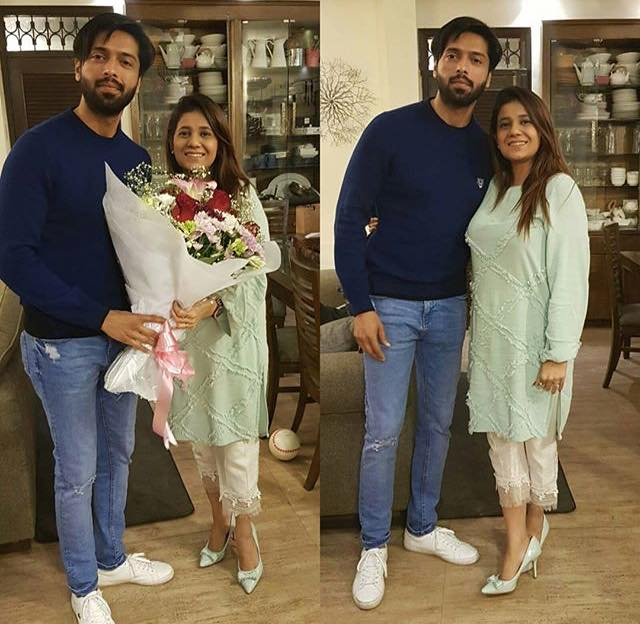 Fahad Mustafa With His Wife On Her Birthday