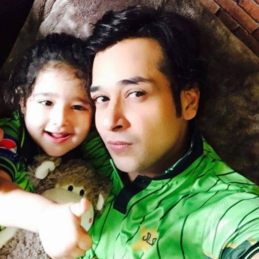 Faisal Qureshi With Daughter While Watching Pak Vs India
