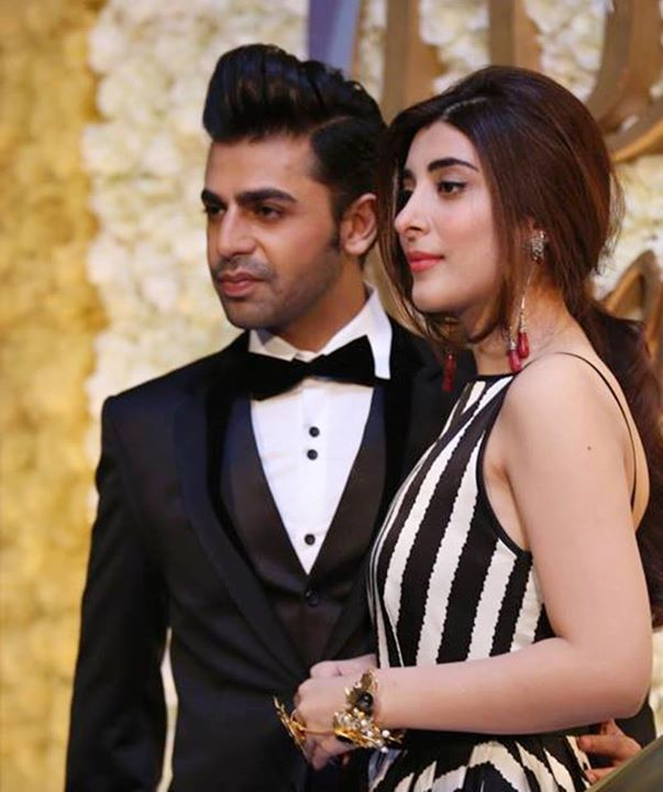 Farhan Saeed with Urwa on Red Carpet of LSA 2015