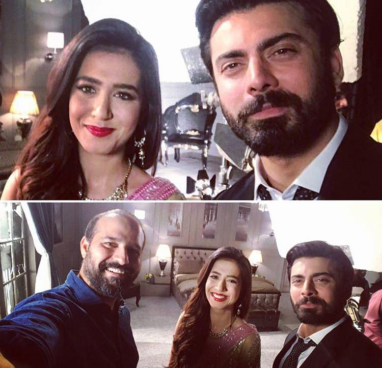 Fawad Khan & Mansha Pasha During Shooting