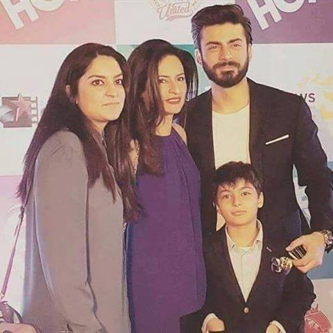 Fawad Khan with his wife son and sister