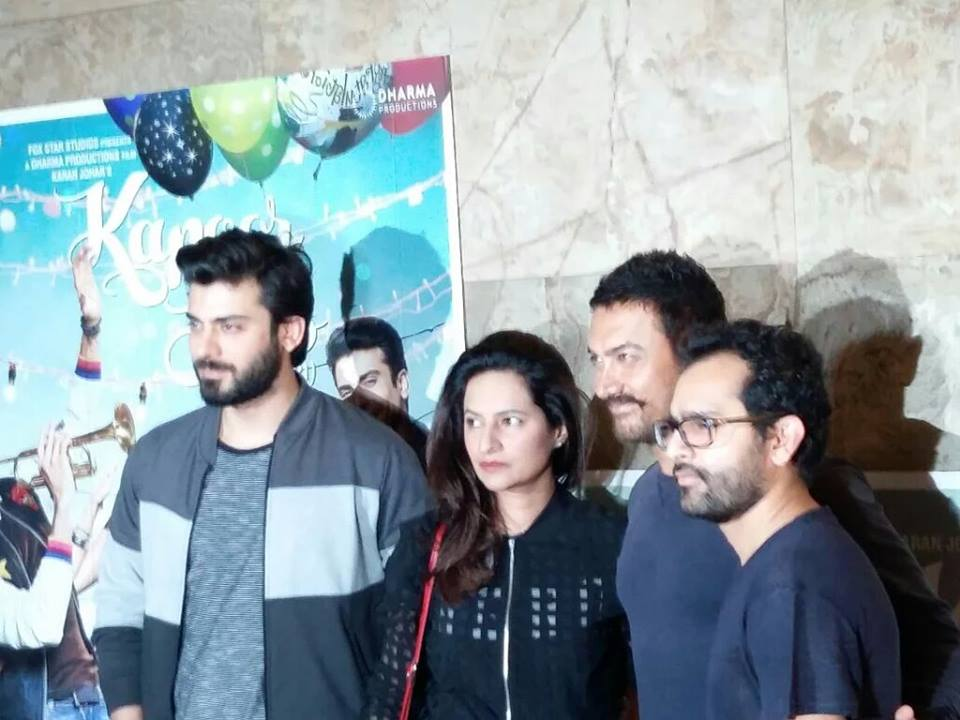 Fawad khan with Amir khan at the special screening of kapoor and sons
