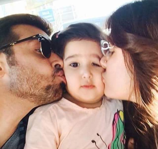 Faysal Qureshi With Wife & Daughter