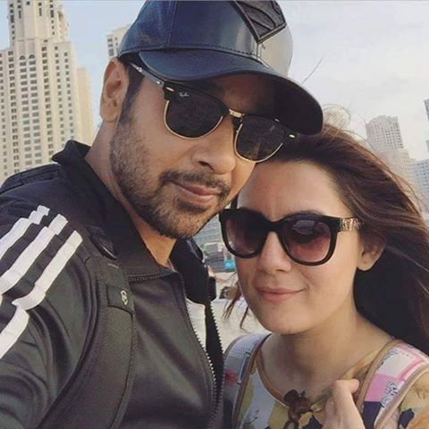 Faysal Qureshi with wife Sana Faisal in Dubai