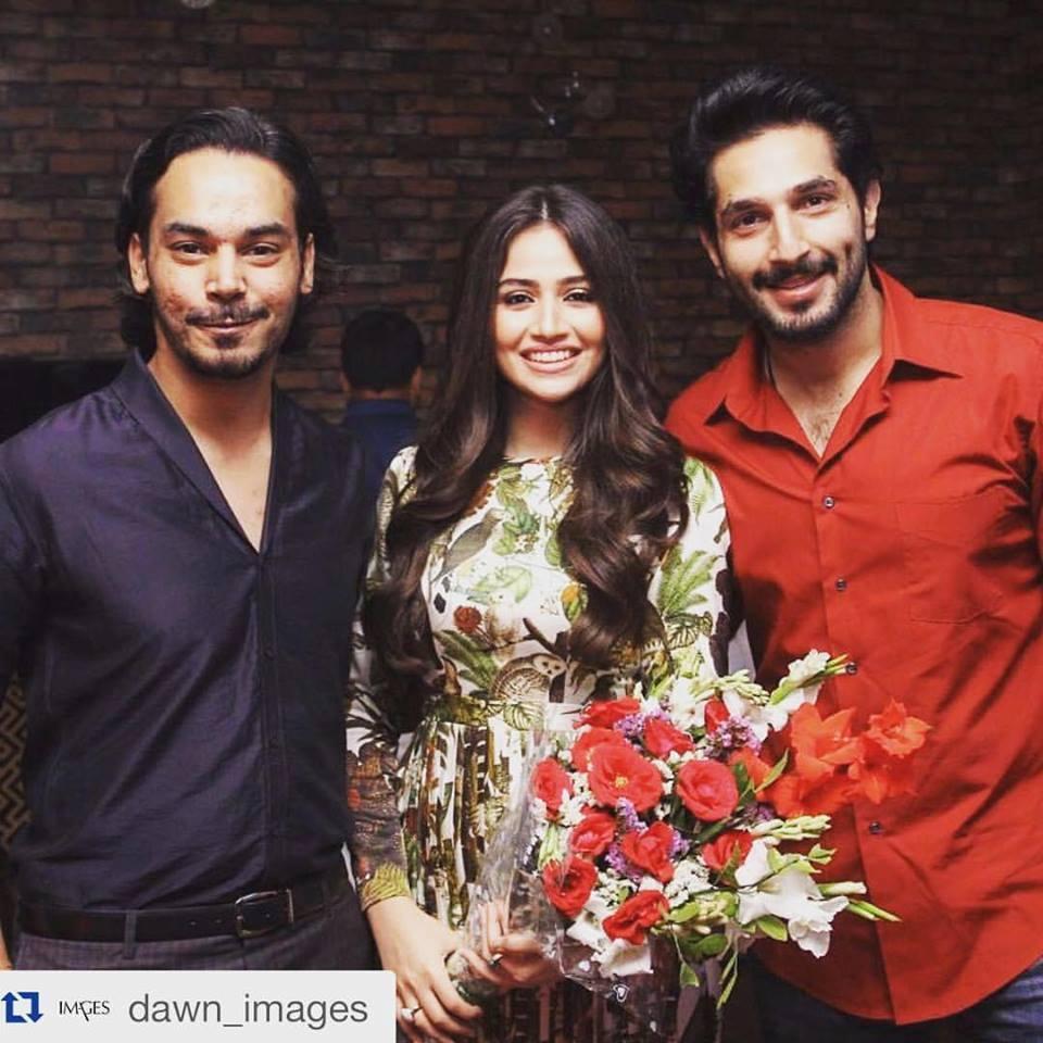 Gohar Rasheed and Bilal with the birthday girl Sana Javed