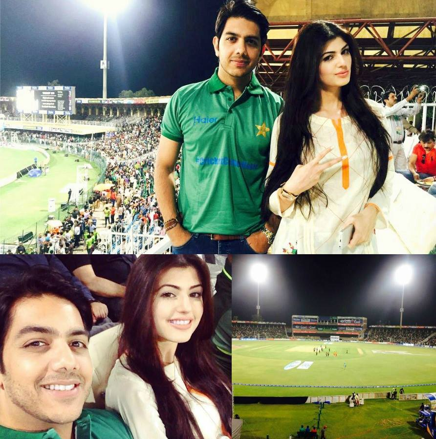 Gohar With Wife During PAK vs ZIM Match