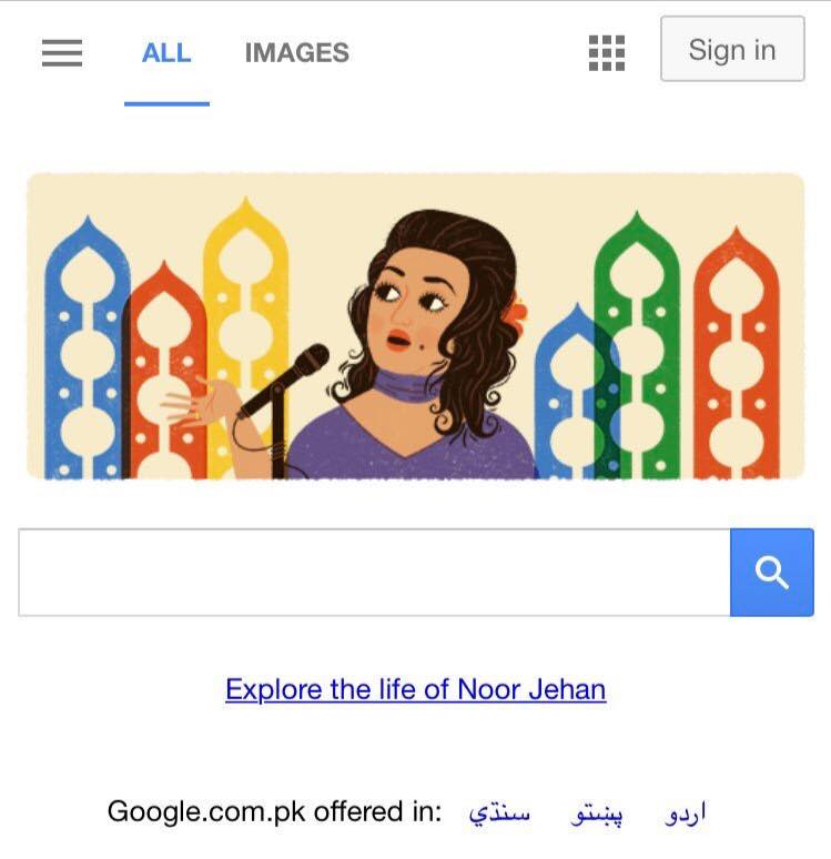 Google Honours Madam Noor Jehan's 91st Birthday