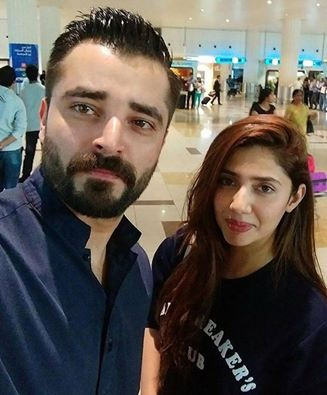 Hamza Ali Abbasi And Mahira Khan At Dubai Airport