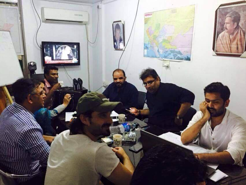 Hamza Ali Abbasi With Asad Umar And Other PTI Workers