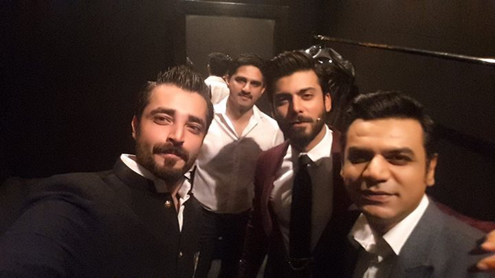 Hamza with Fawad at Backstage of LSA 2015