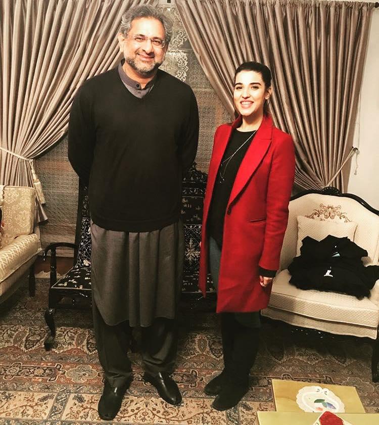 Hareem Farooq With PM Shahid Khaqan Abbasi