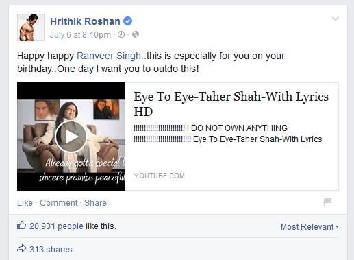 Hrithik Roshan Birthday Gift To Ranveer Singh