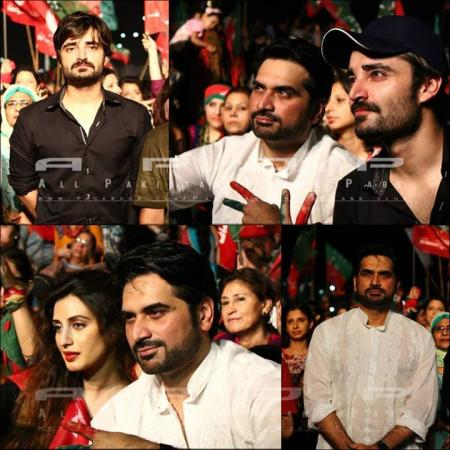 Humayun Saeed, Iman Ali And Hamza Ali Abbasi In PTI Dharna