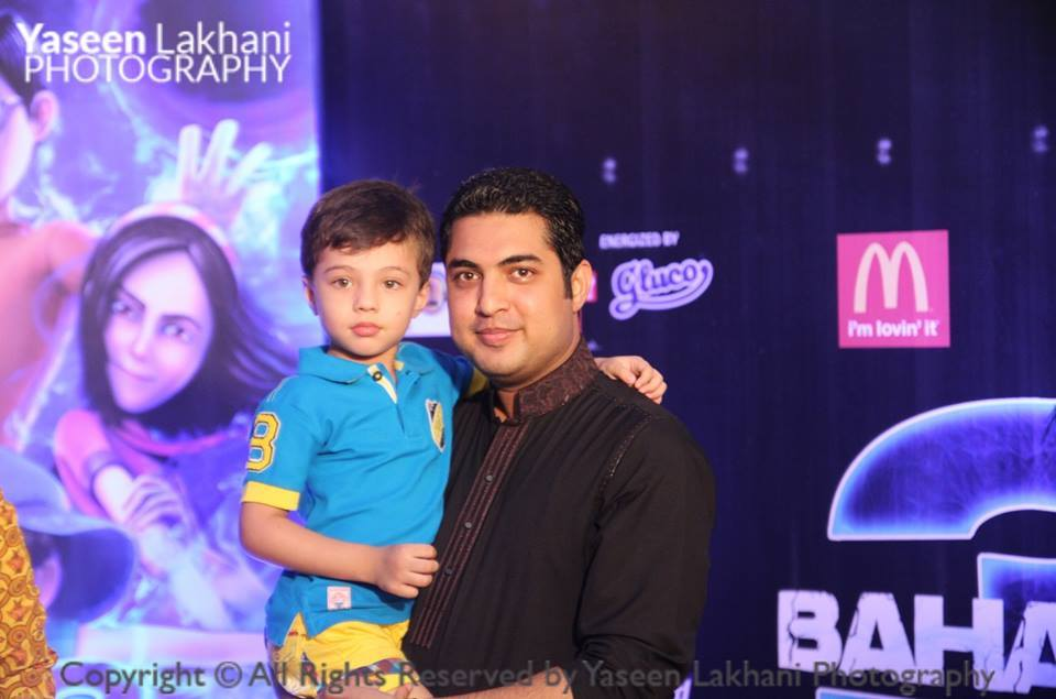 Iqrar Ul Hassan With Son At 3 Bahadur Movie Premier