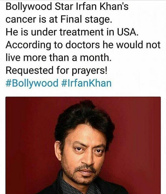 Irfan Khan's Cancer Is At Final Stage