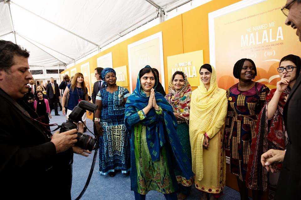 Malala And Girls On Blue Carpet Of The Premiere Of He Named Me Malala
