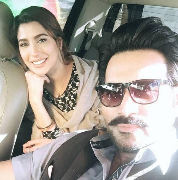 Mehwish Hayat & Humayun Saeed During Shooting