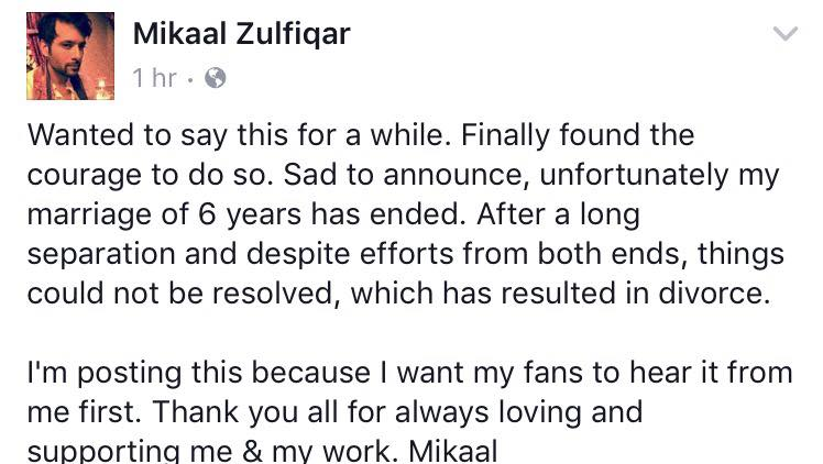 Mikaal Zulfiqar Announces His Divorce From Sara Mikaal