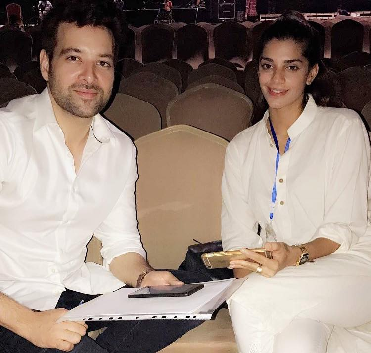 Mikaal Zulfiqar & Sanam Saeed During Rehearsals